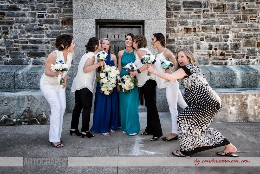 Funny same sex wedding party photos with brides at Dingle Tower in Halifax, NS.