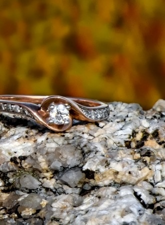 An engagement ring captured by a Halifax wedding photographer at Peggys Cove, NS.