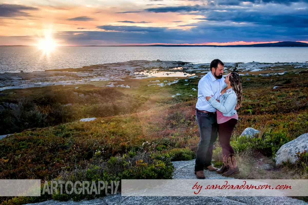 halifax, ns, nova scotia, wedding, photography, photographer, videography, videographer, bride, groom, photography, photographer, engagement, engaged, bride to be, couple, love, sandra adamson studios, artistic, creative, story telling, candid, rich colors, strong contrast, documentary, fine art, peggy's cove, sunset, sunburst, sunflare