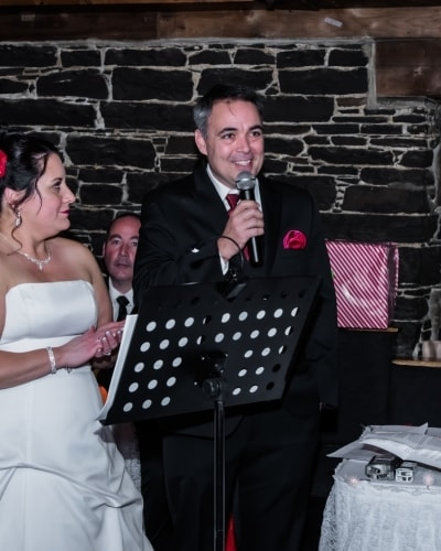The bride and groom giving their wedding speech at the Lower Deck Tap Room in Halifax.