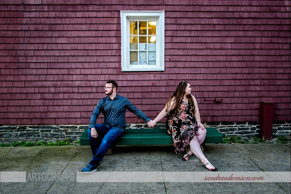 halifax, ns, nova scotia, wedding, photography, photographer, videography, videographer, bride, groom, photography, photographer, engagement, engaged, bride to be, couple, love, sandra adamson studios, artistic, creative, story telling, candid, rich colors, strong contrast, documentary, fine art, engagement, session, historic properties, love, bench, urban,