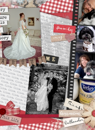 A about me scrapbook page for Sandra Adamson Studios, Halifax Wedding Photographers.