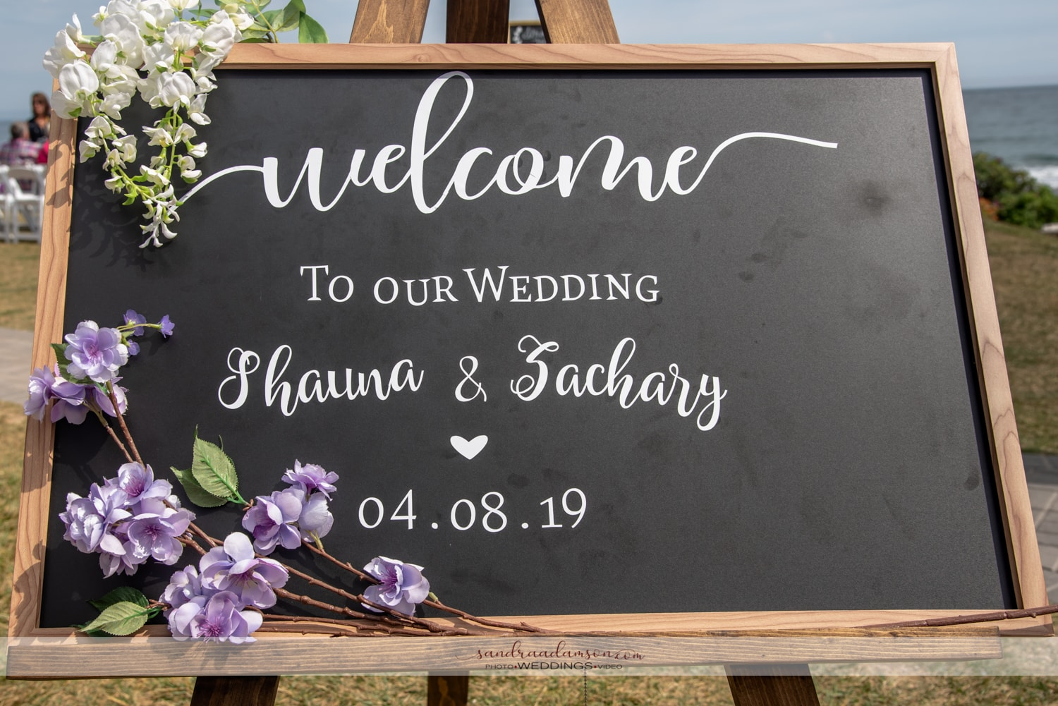 A wedding welcome sign at a White Point wedding ceremony.