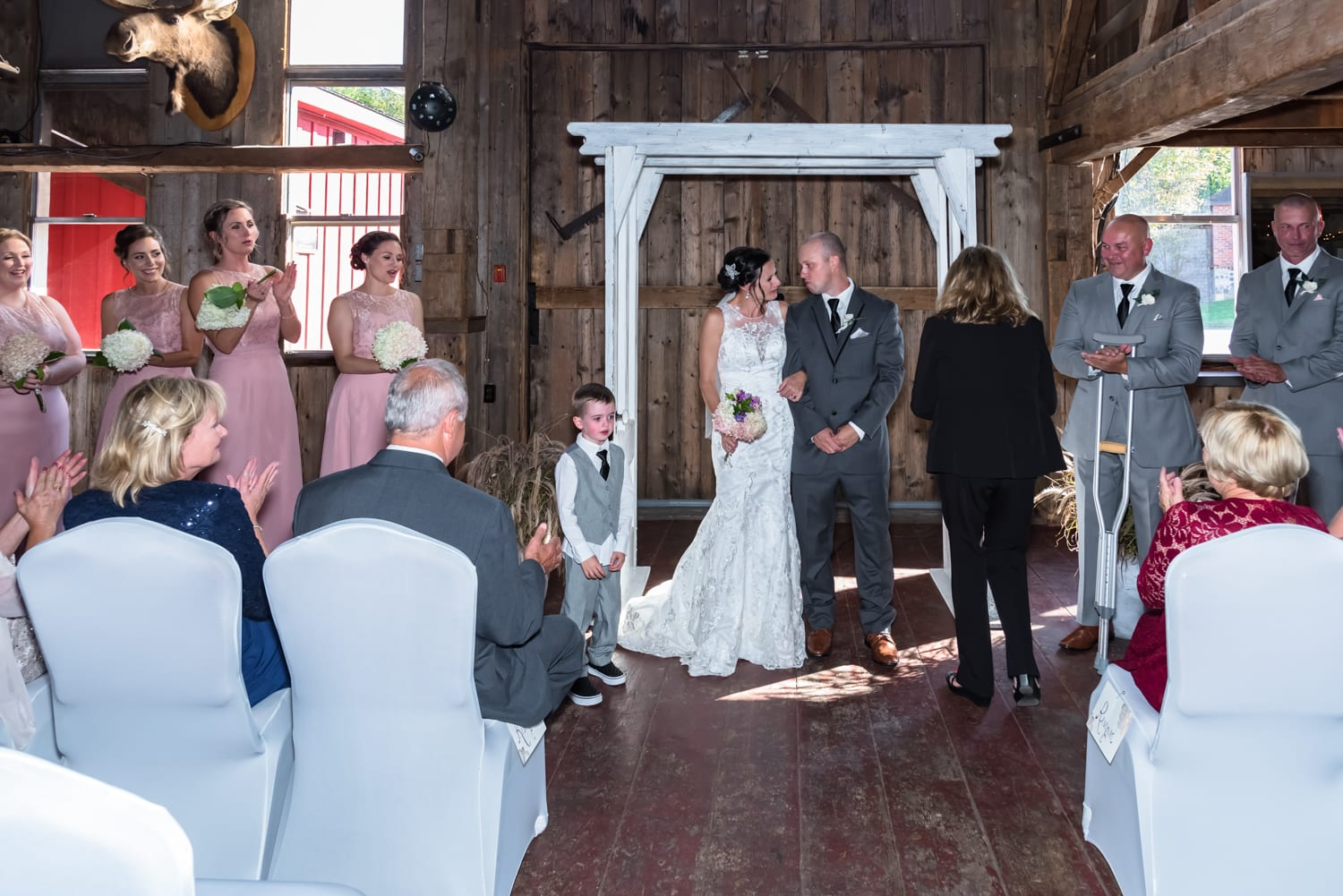 The wedding announcement of husband and wife during the wedding ceremony at Old Orchard Inn.