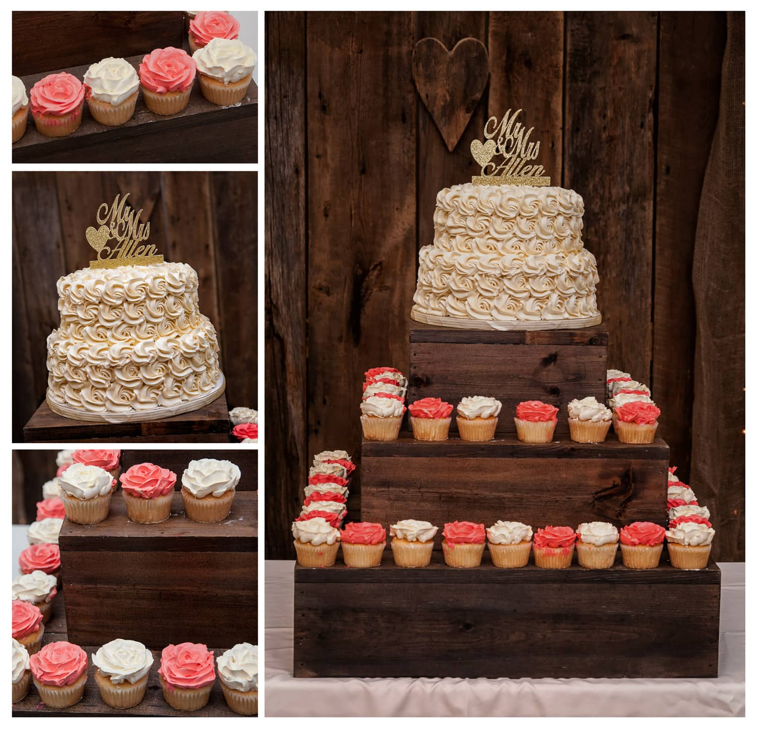 wedding cake with wedding cupcakes on a three tier rustic wooden stand with a gold sparkly wedding cake topper