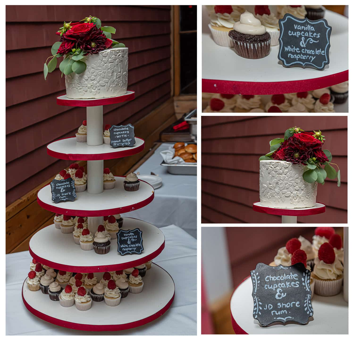a beautiful wedding cake with wedding cupcakes on a 5 tier wooden cupcake stand with mini chalkboard signs