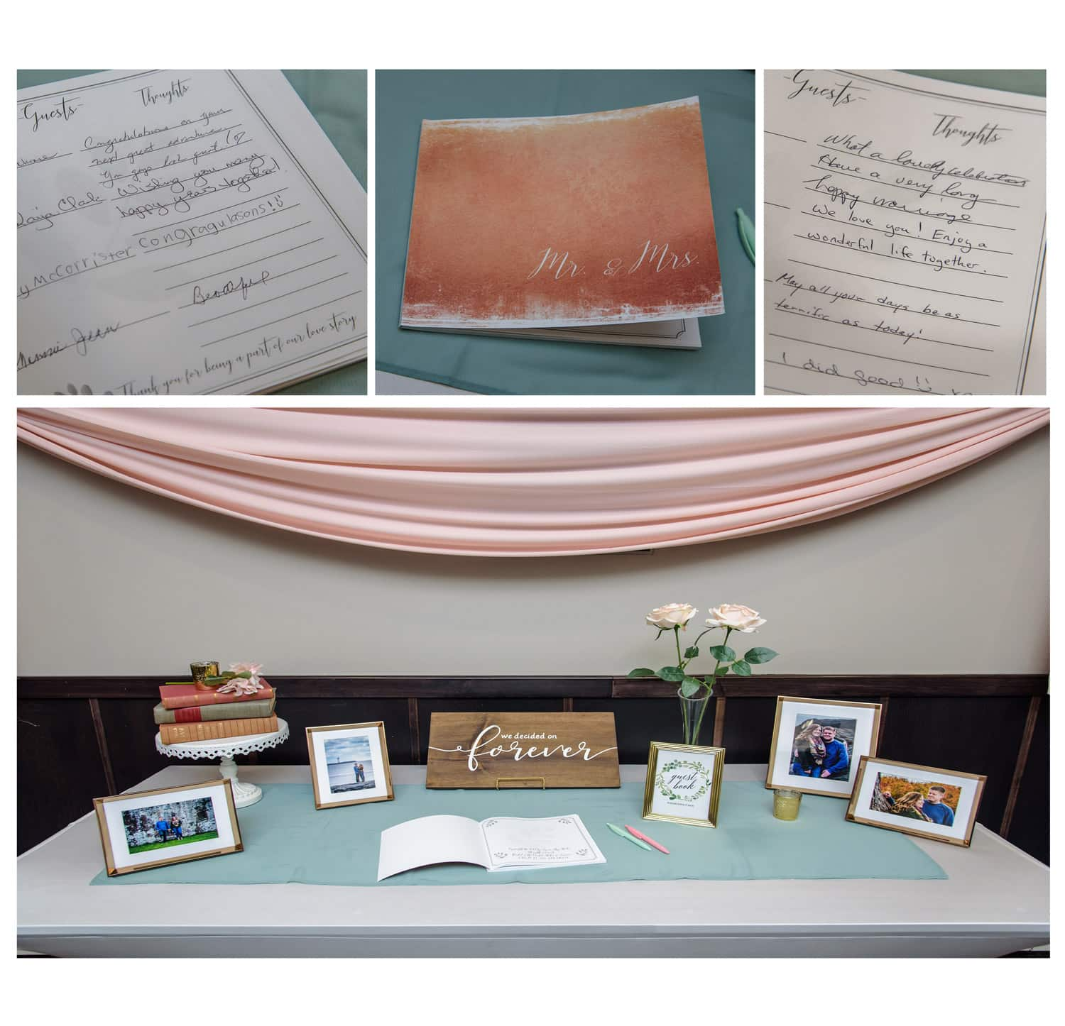 photo style wedding guest book which guests can sign displayed at a wedding at Best Western Chocolate Lake in Halifax