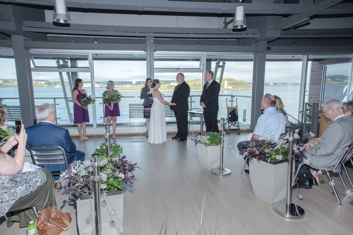 the wedding ceremony on the 2nd floor of the Halifax Seaport Farmer's Market