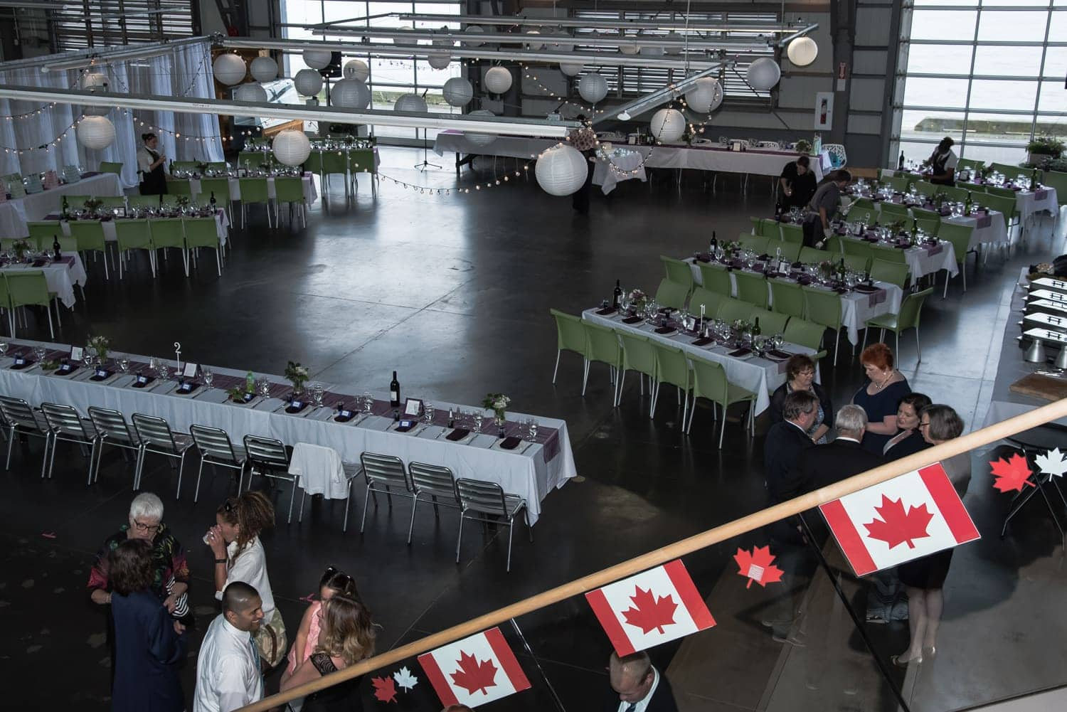 a wedding floor set up at the Halifax Seaport Farmer's Market