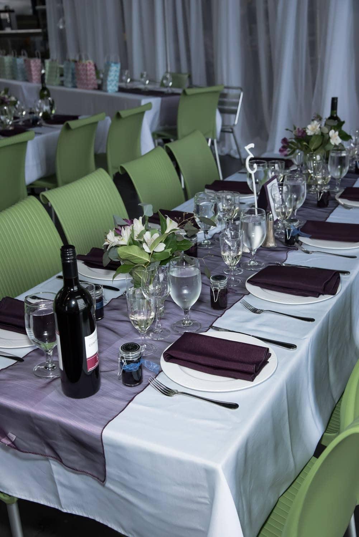 A wedding reception table set up at farmer's market wedding venues.