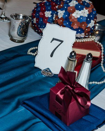 A Bedford Basin Farmer's Market wedding reception table setting.
