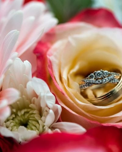 Wedding rings in the bridal bouquet captured by Halifax Wedding Photographers.