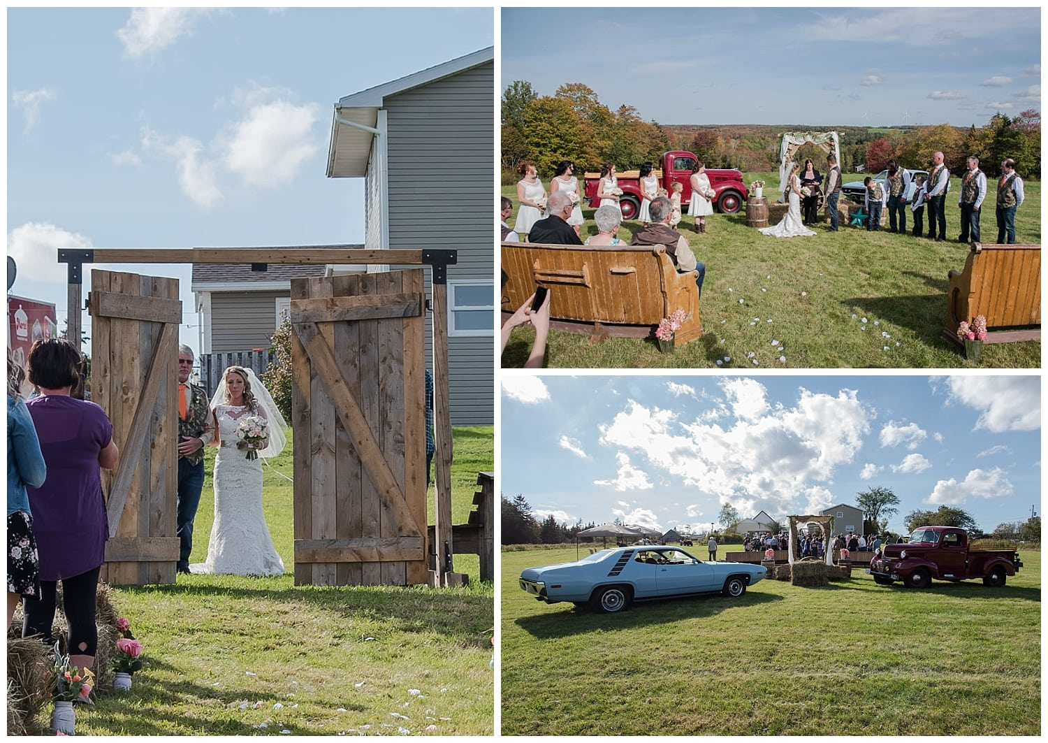 A rustic barn door style backyard wedding in Nova Scotia with the bride and groom.