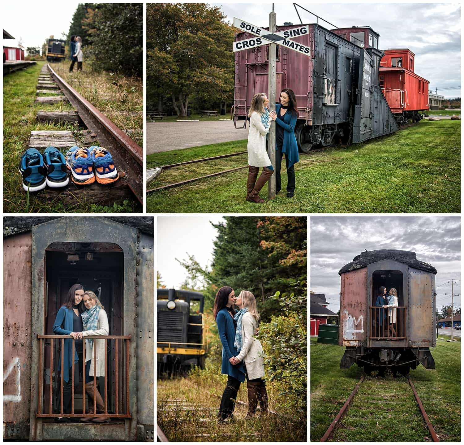 A gay lesbian couple have their engagement photos at the Musquodoboit Train Museum in Nova Scotia by a Halifax wedding photographer.