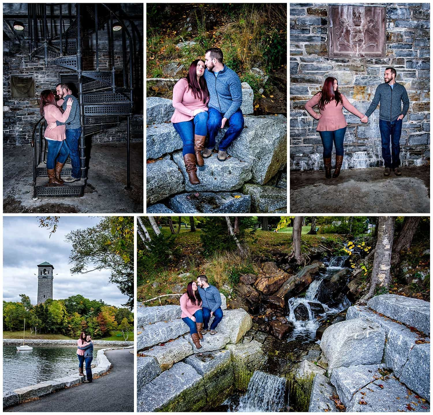 A cute couple during their engagement photos at Dingle Tower, Sir Sandford Fleming Park in Halifax.