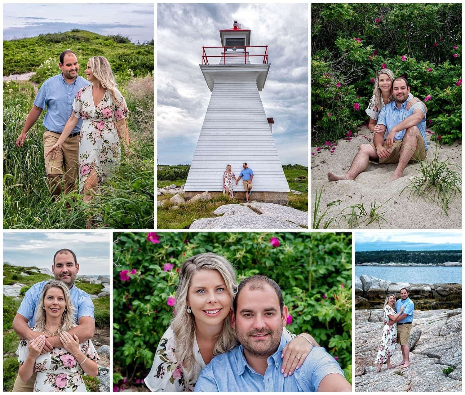 Engagement photos at Sandy Cove in NS with a very cute couple by a Halifax wedding photographer.