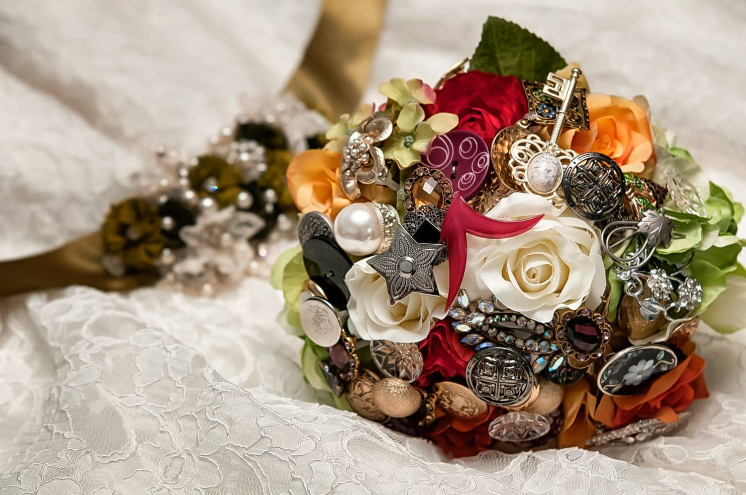A fall themed and colored wedding bridal brooch bouquet.