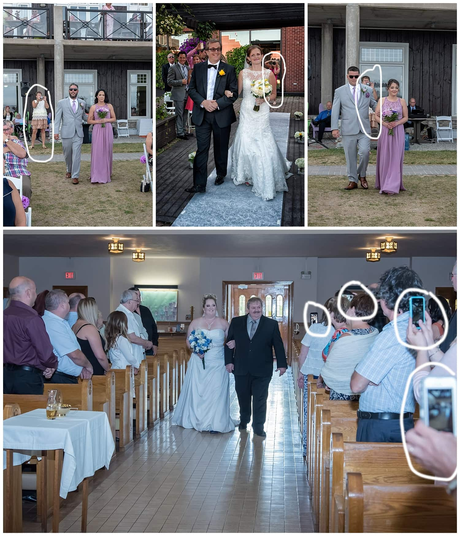 People in the background of important wedding photos, why you may want an unplugged wedding.