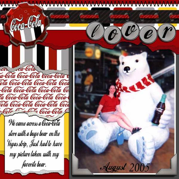 Nova Scotia wedding photographer Sandra Adamson's life on the road as a long hauler on the Las Vegas strip at the Coca Cola Store sitting on the Coca Cola bear.