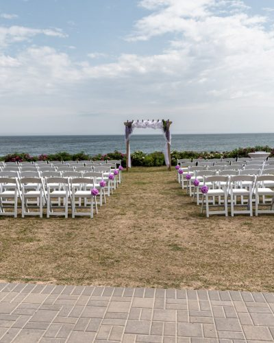 The wedding ceremony set up for a White Point wedding.
