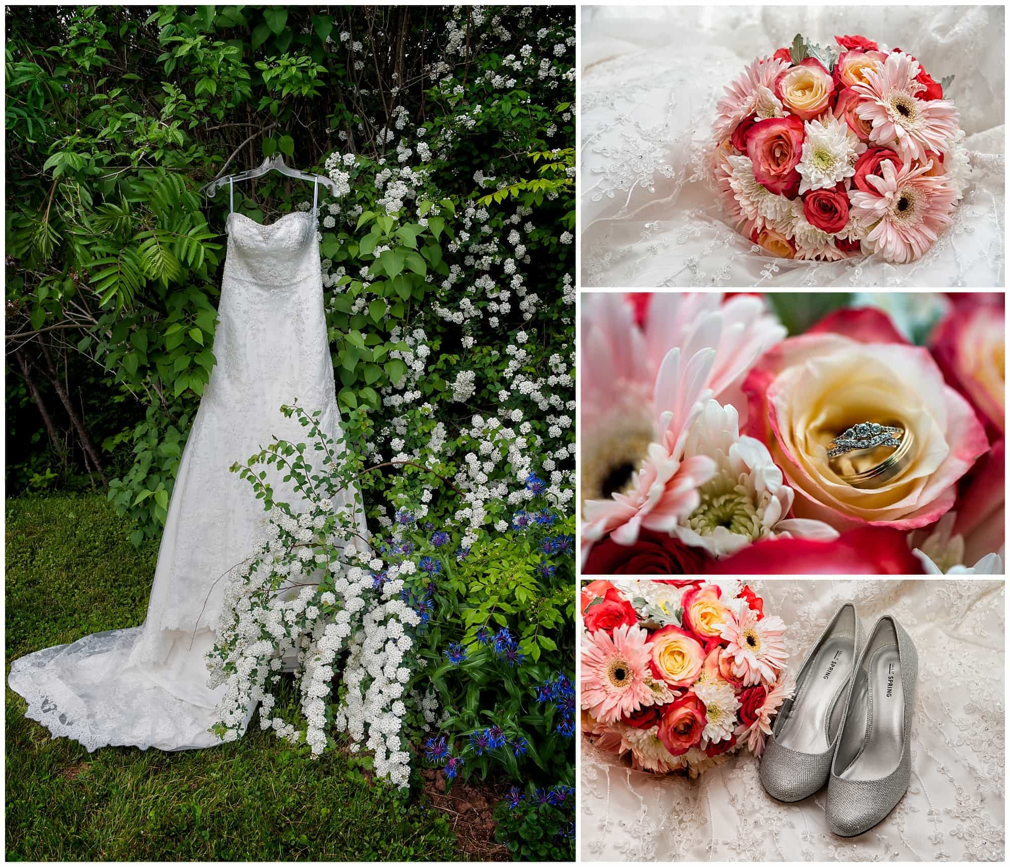 A collage of the bride's wedding dress, bridal bouquet, wedding shoes and wedding rings among the flower.