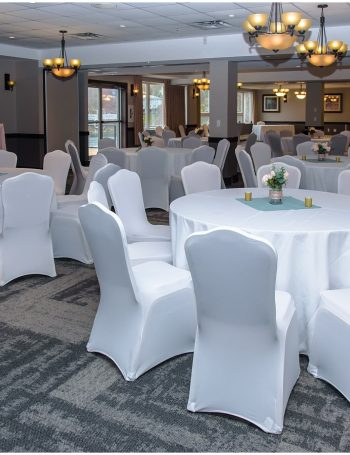 The wedding reception set up for a wedding at the Best Western Chocolate Lake in Halifax.