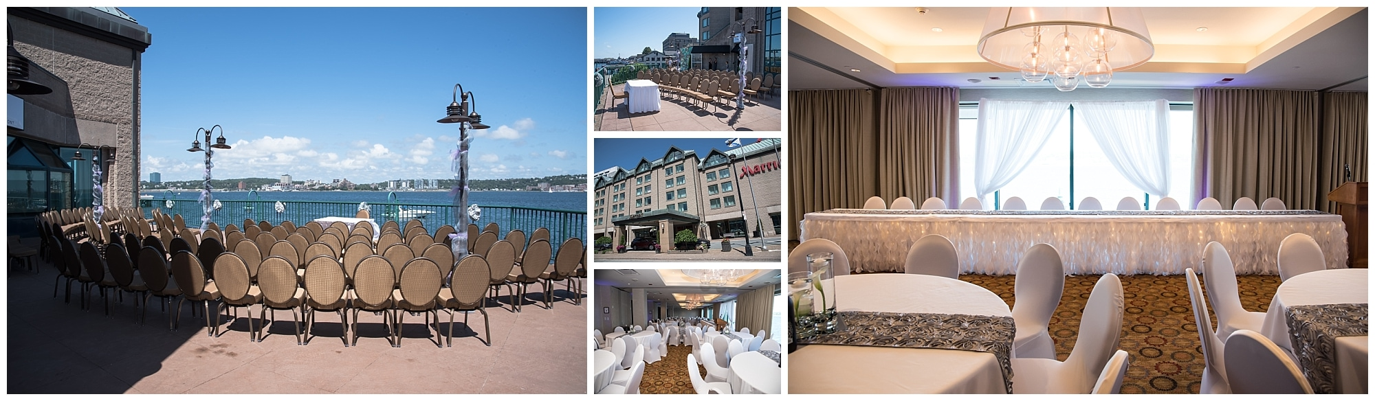 The balcony wedding ceremony and reception set up at the Halifax Marriott Harbourfront Hotel wedding venue.