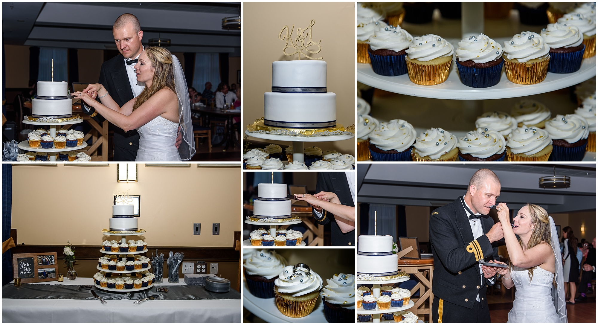 The bride and groom cut the wedding cake and feed each other during their wedding at Juno Tower in Halifax.