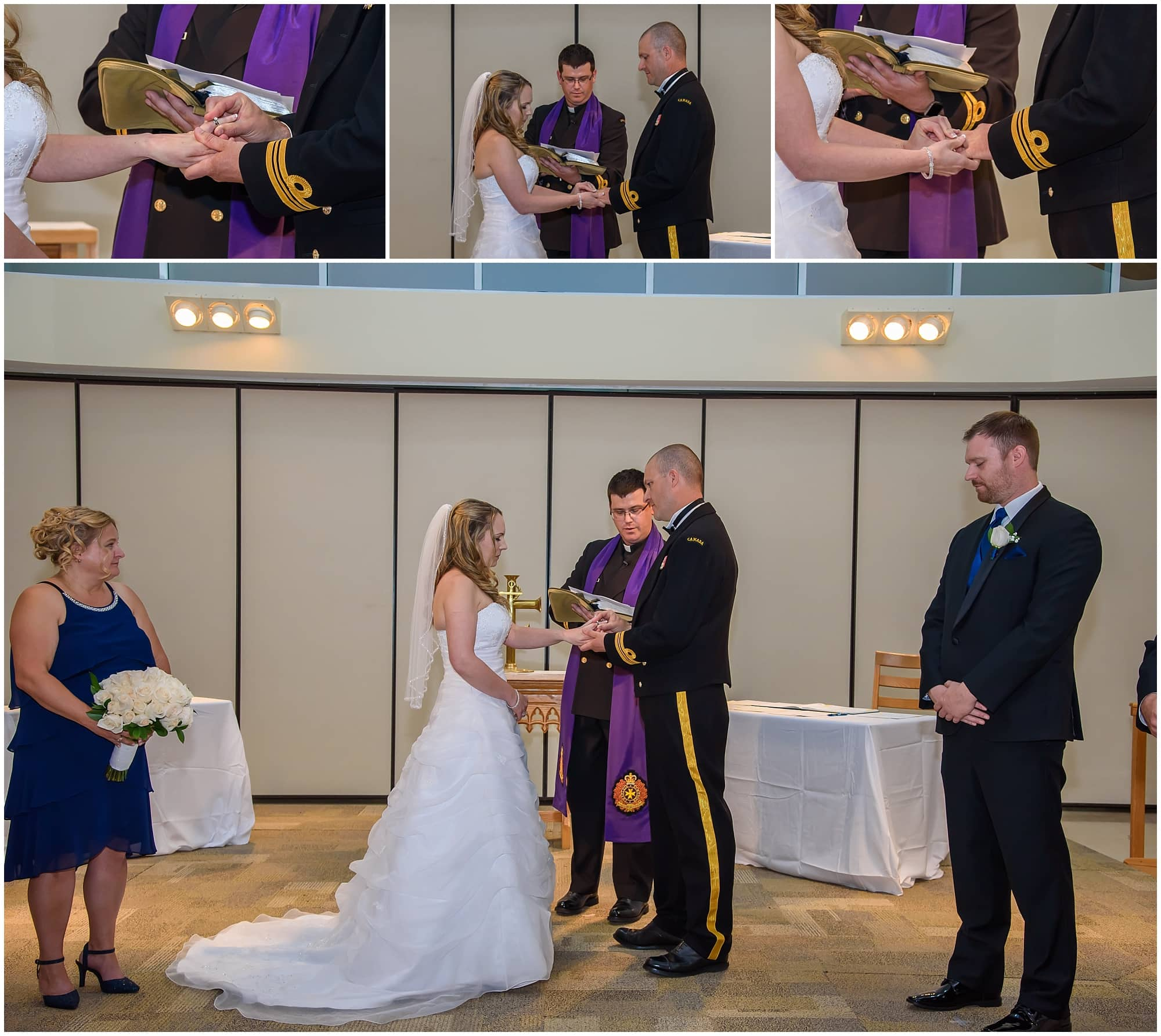 The bride and groom exchange their wedding rings during their Juno Tower wedding in Halifax, NS.