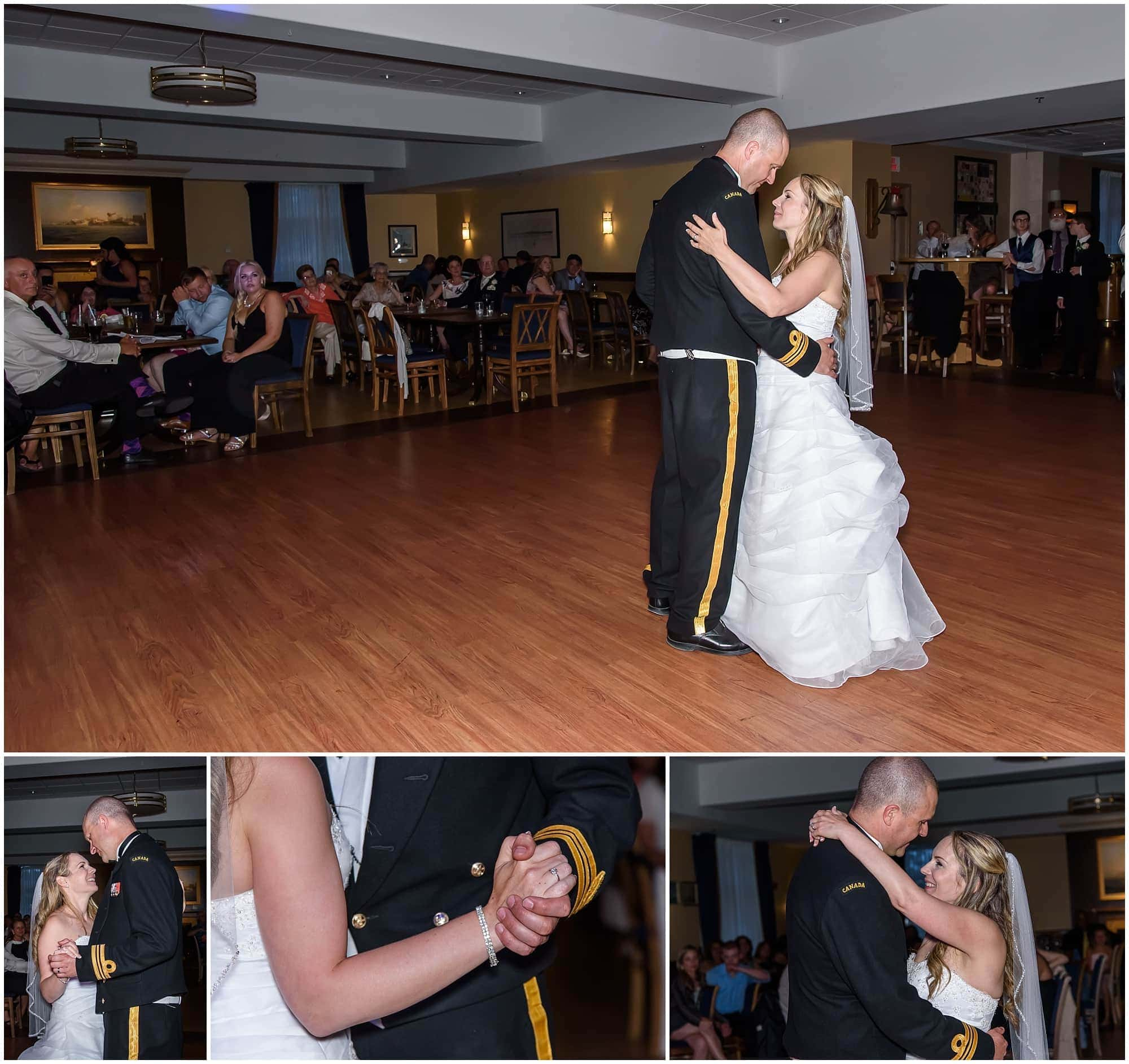 The bride and groom have their first wedding dance during their wedding reception at Juno Tower in Halifax, NS.