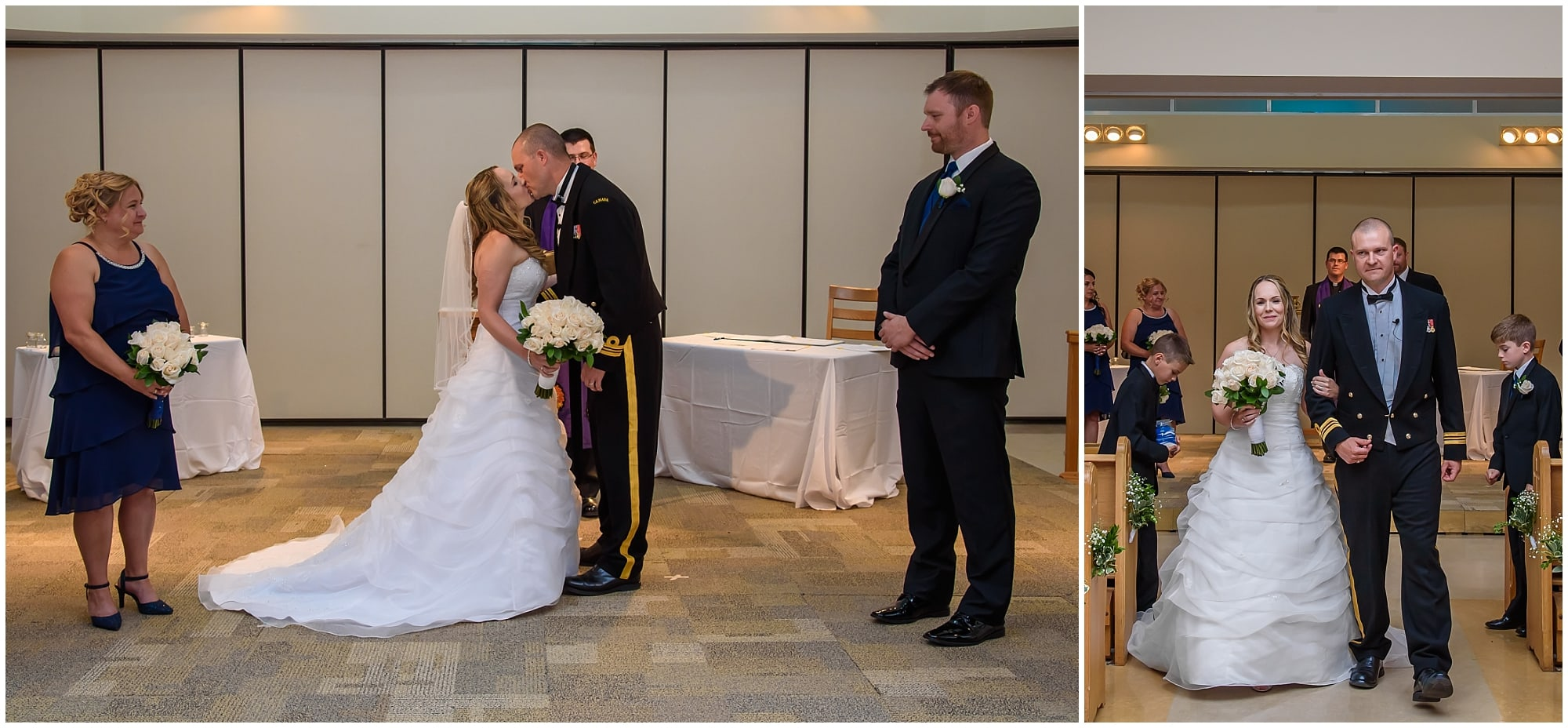 The bride and groom have their first kiss during their wedding at Juno Tower in Halifax.