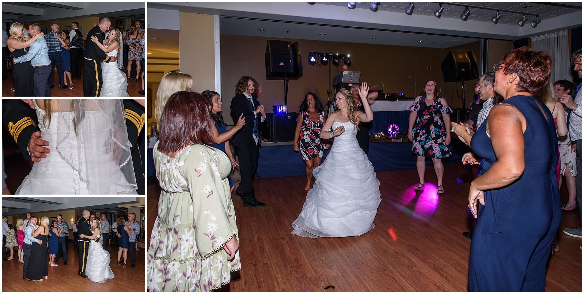The bride and groom dance with their guests during their Juno Tower wedding reception.