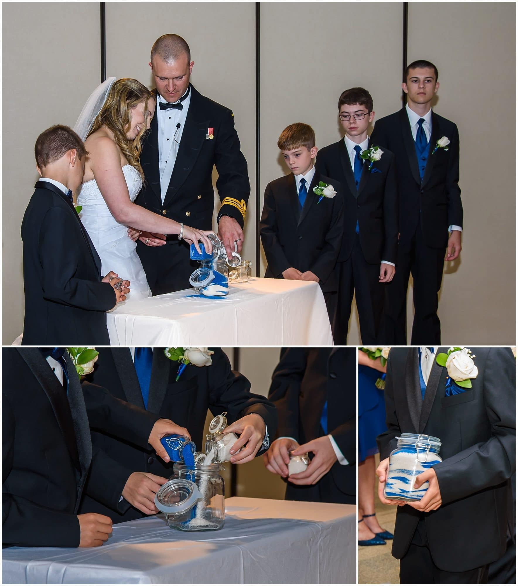 The bride and groom with their children perform a wedding sand ceremony at their Juno Tower wedding.
