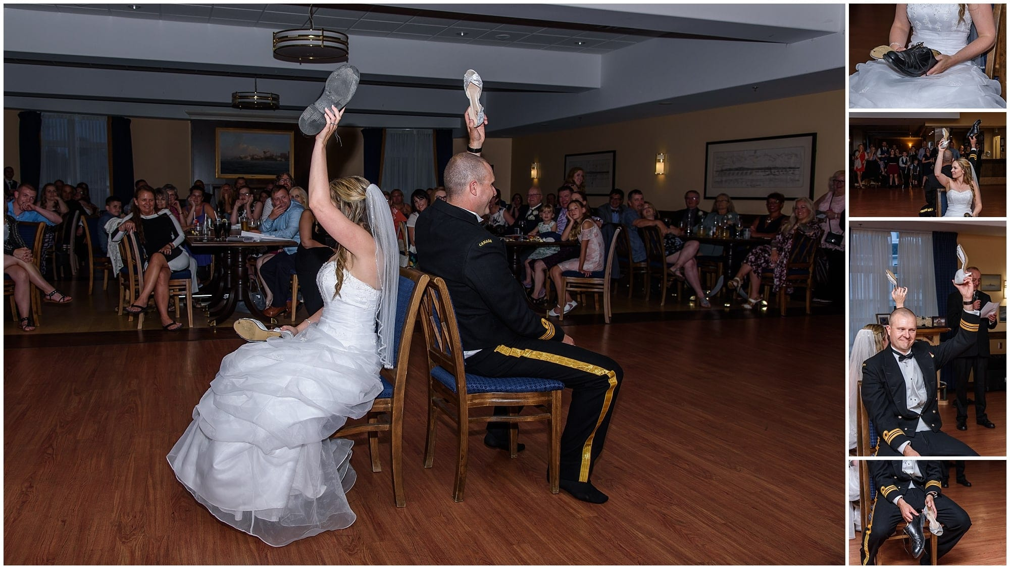 The bride and groom play the wedding shoe game during their reception at Juno Tower in Halifax, NS.