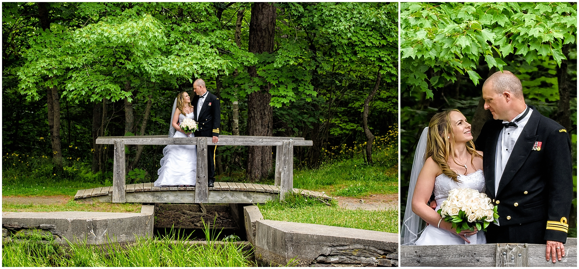 The bride and groom on a wooden bridge posing for their wedding photos at Point Pleasant Park in Haifax, NS.