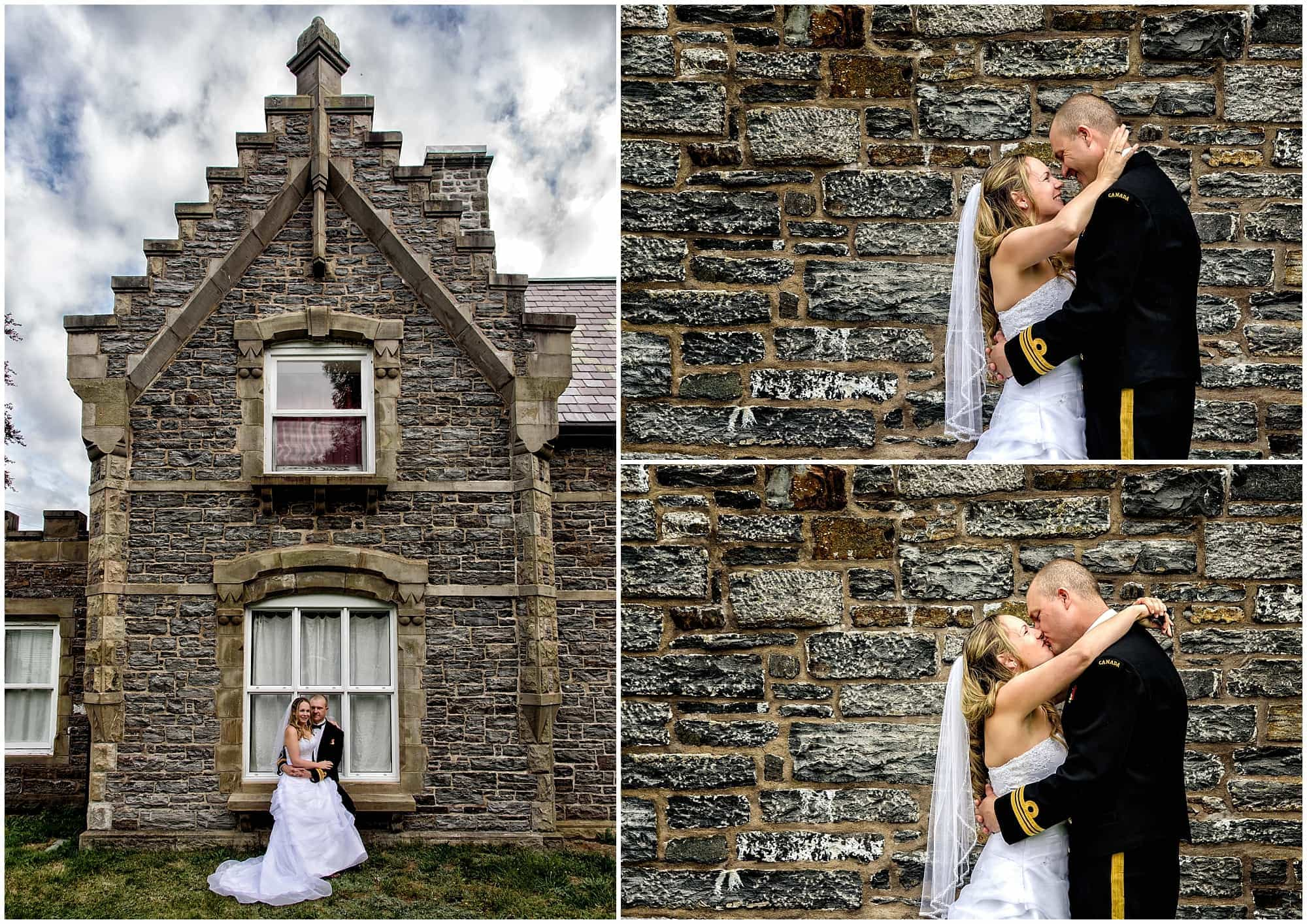 The bride and groom posing for wedding photos at the Gatehouse in Point Pleasant Park Halifax, NS.
