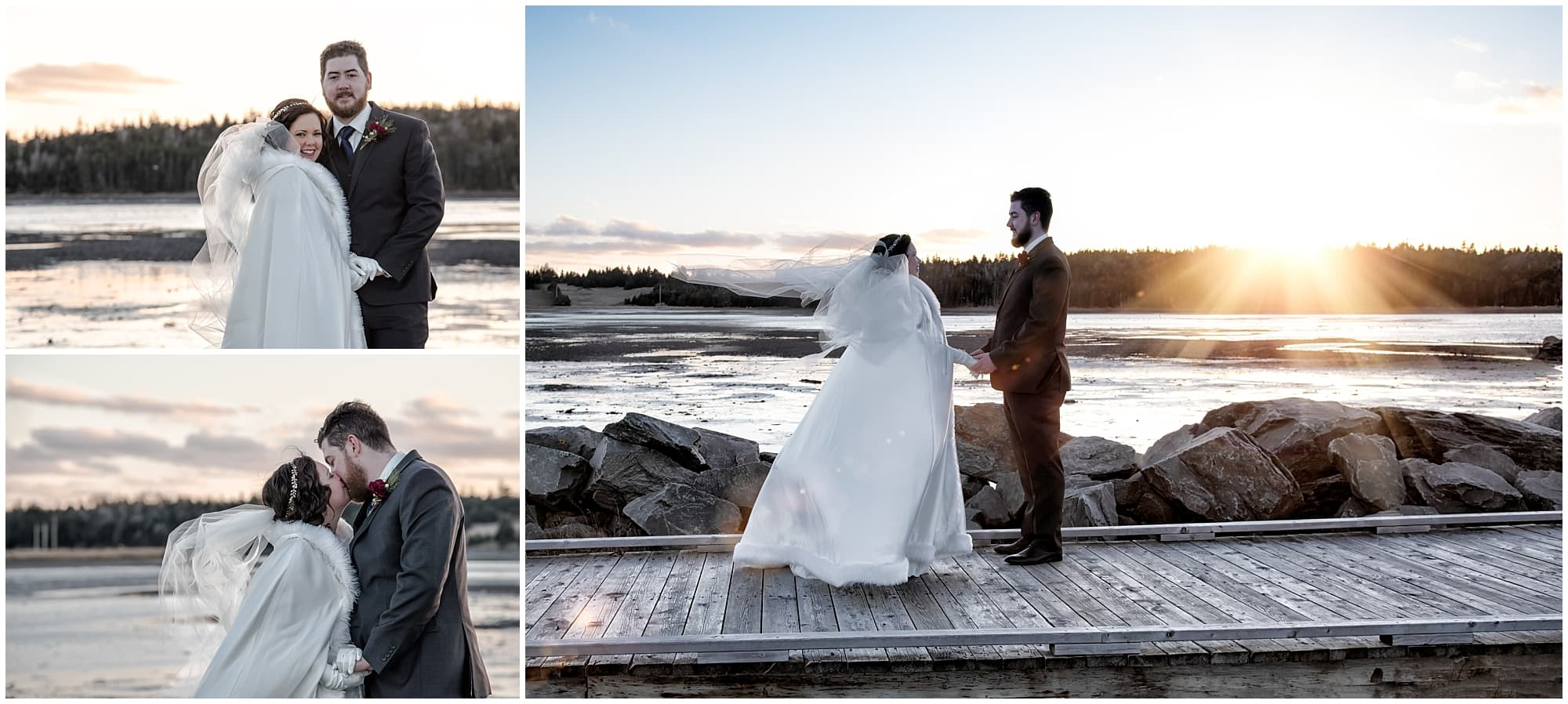 The bride and groom pose for wedding photos at sunset on the ocean boardwalk at Fisherman's Cove in Eastern Passage, NS.