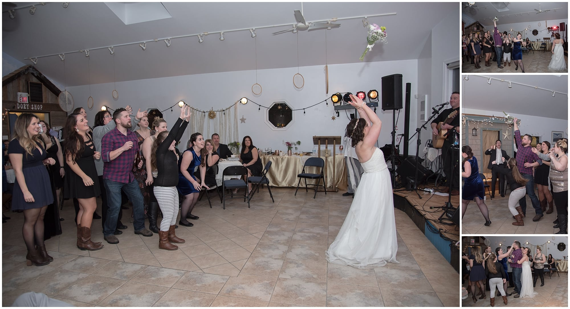 The bride throws her bridal bouquet during the bouquet toss at her Fisherman's Cove wedding.