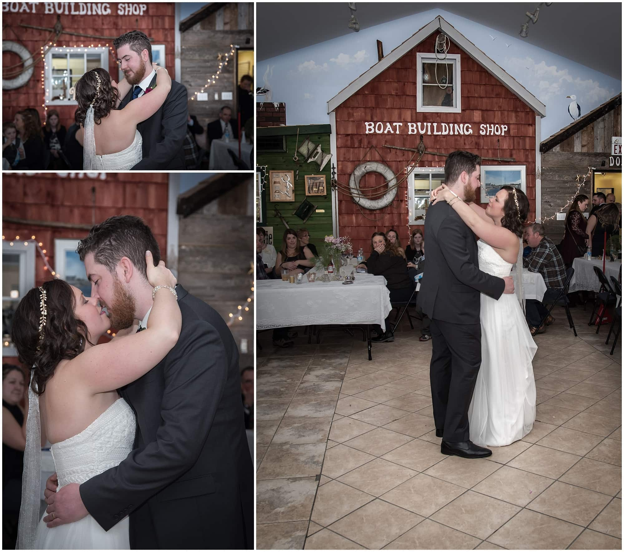 The bride and groom have their first dance during their wedding at Fisherman's Cove in Eastern Passage, NS.