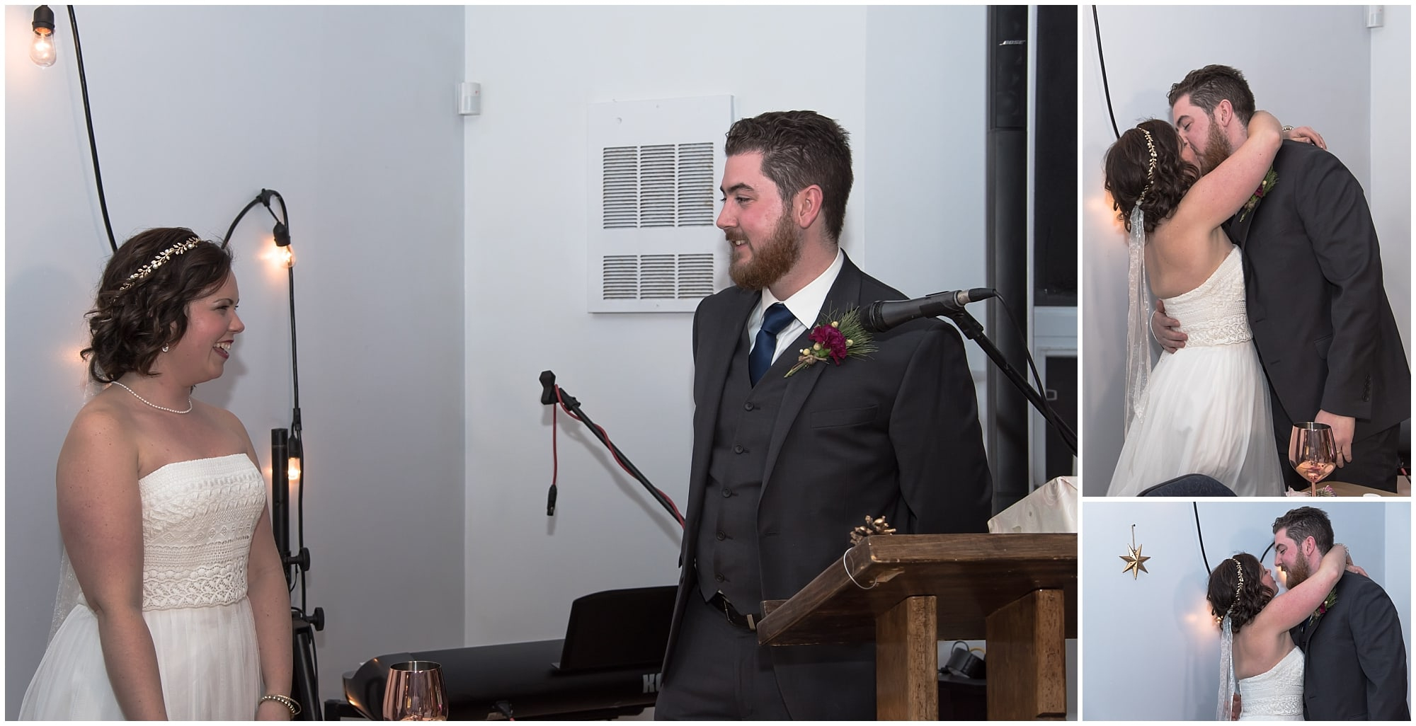 The bride and groom finish their thank you speech and then kiss during their wedding at Fisherman's Cove in Eastern Passage.