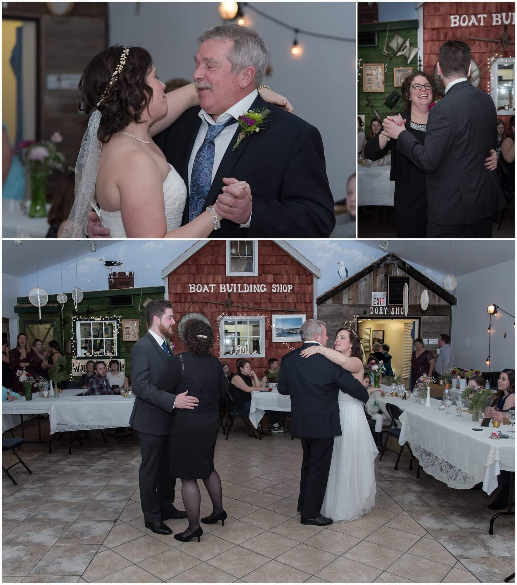 The father daughter dance and mother son dance during a wedding at Fisherman's Cove in Eastern Passage, NS.
