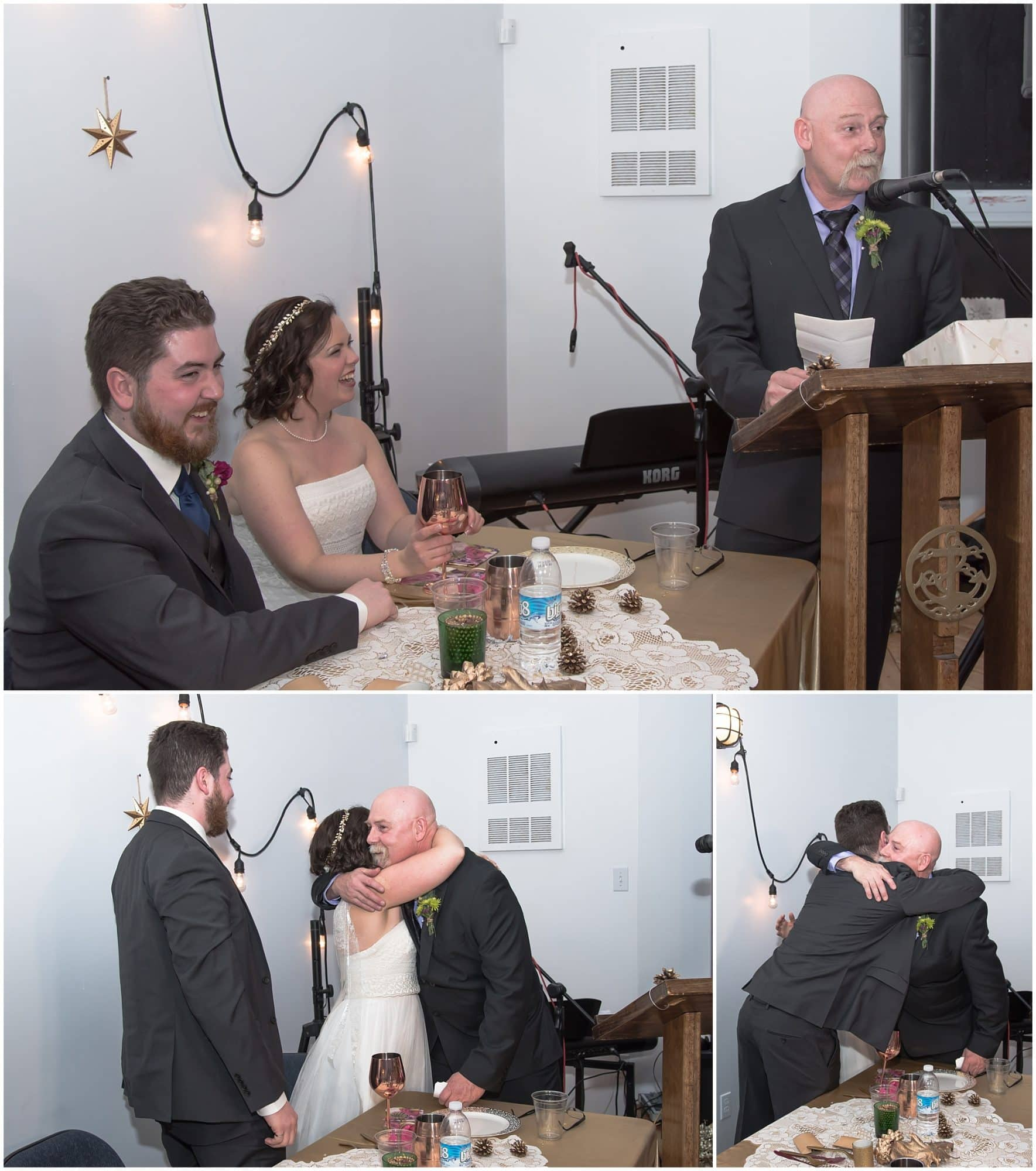 The father of the bride toasts the bride and groom during their wedding at Fisherman's Cove in Eastern Passage, NS.