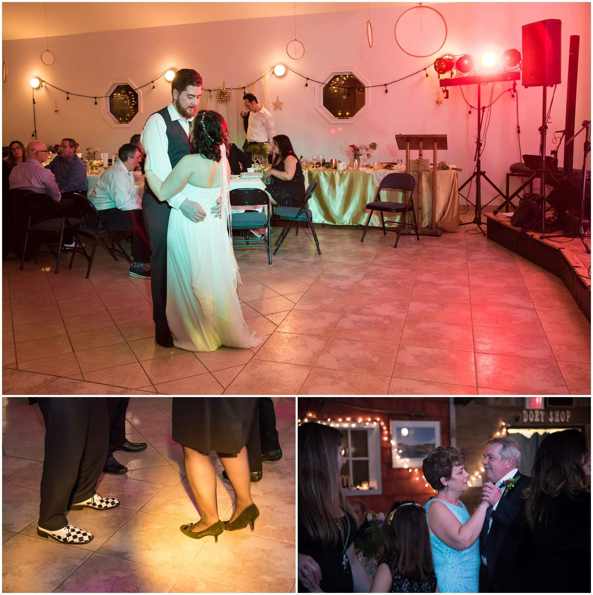 The bride and groom dancing along with their guests at the Fisherman's Cove wedding.