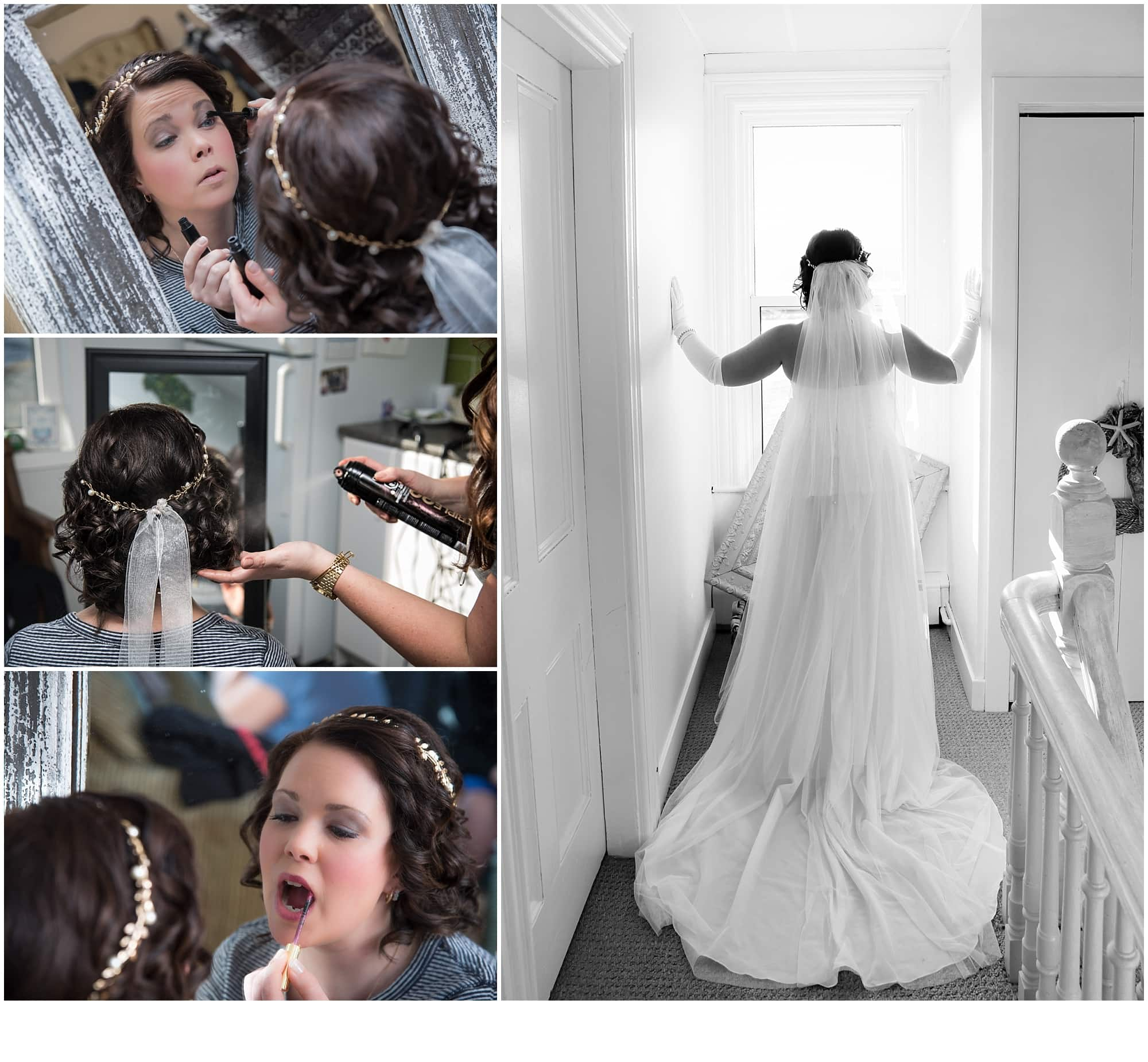 The bride getting ready during bridal prep putting her bridal makeup on and having her hair styled.