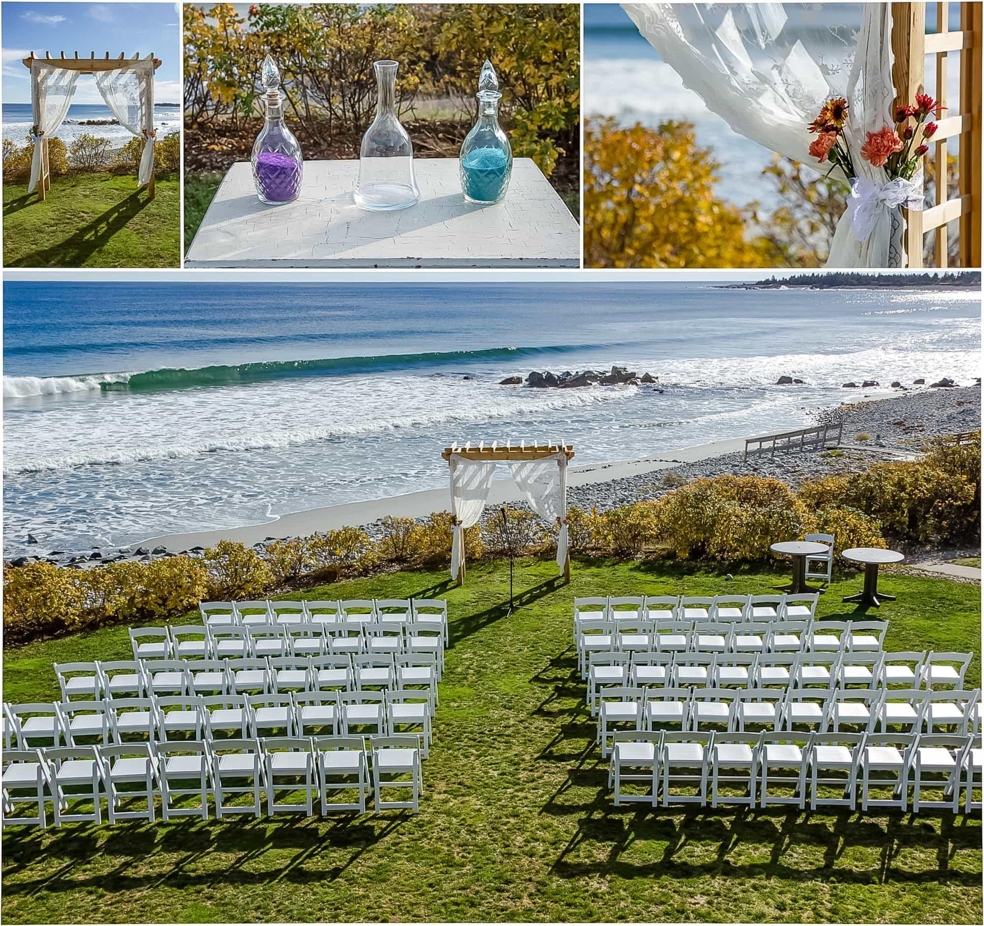 Oceanside White Point Beach Wedding Ceremony Setup.
