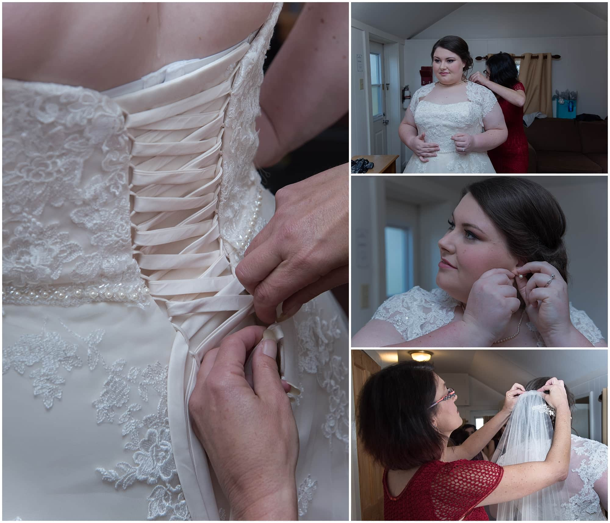 Bride getting into her wedding gown, putting on her earrings and her veil for her White Point Beach Resort wedding.