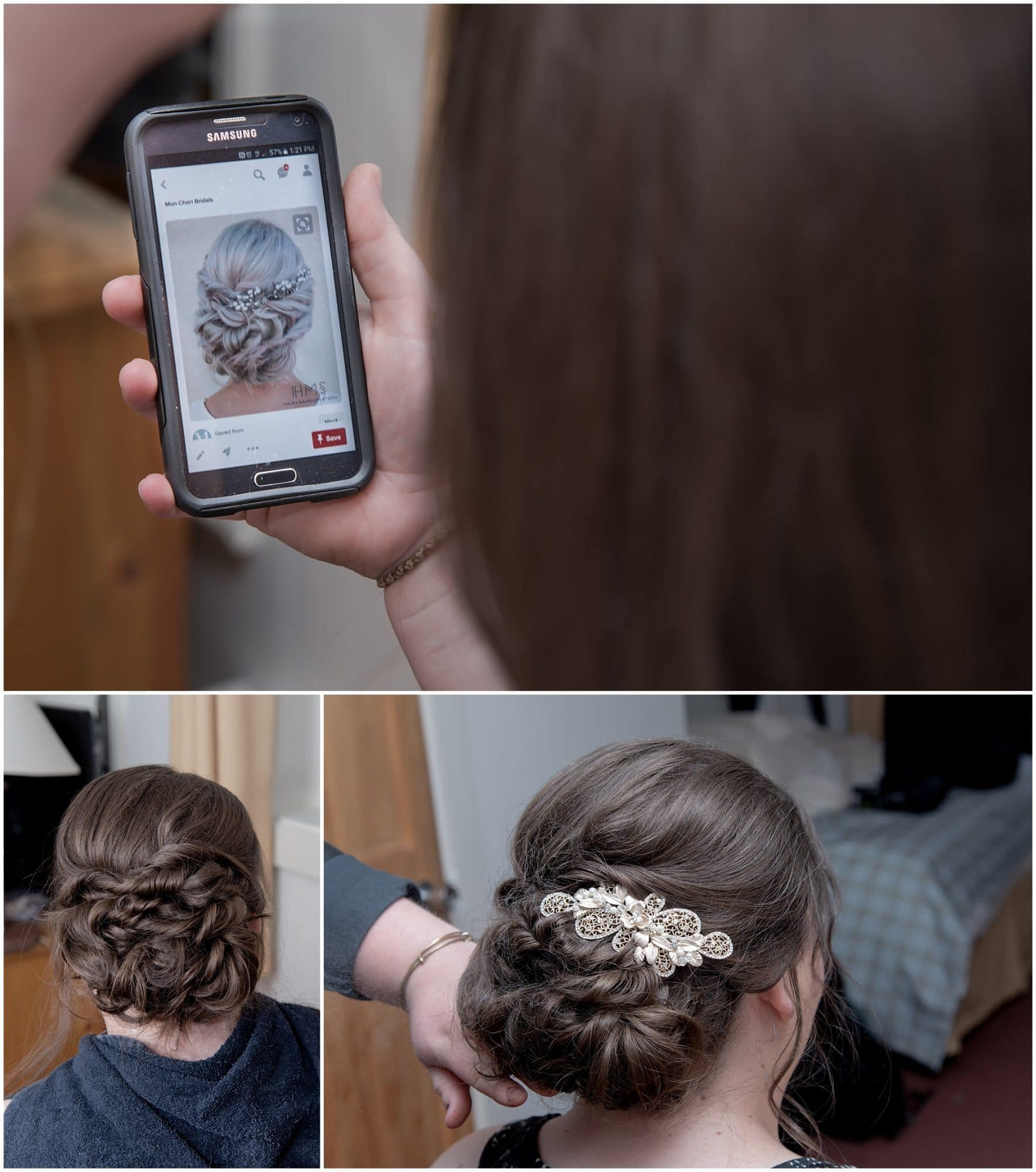 The bride having her bridal hairstyle created during her bridal prep for a White Point wedding.
