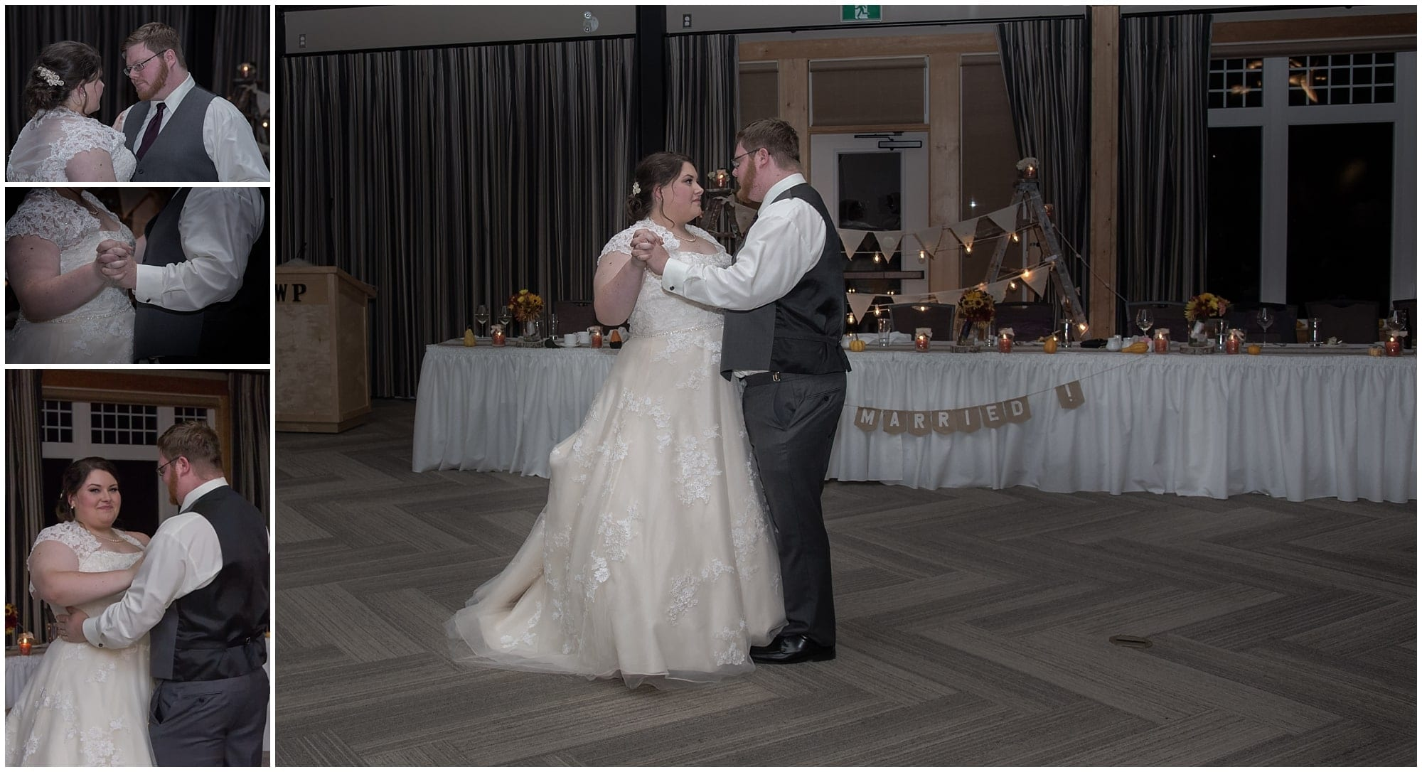The bride and groom have their first wedding dance during their wedding at the White Point Beach Resort in Nova Scotia.