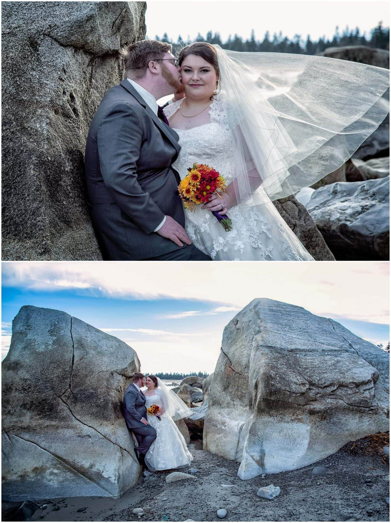 The bride and groom pose for wedding photos on the beach between the rocks at a White Point wedding in Nova Scotia.