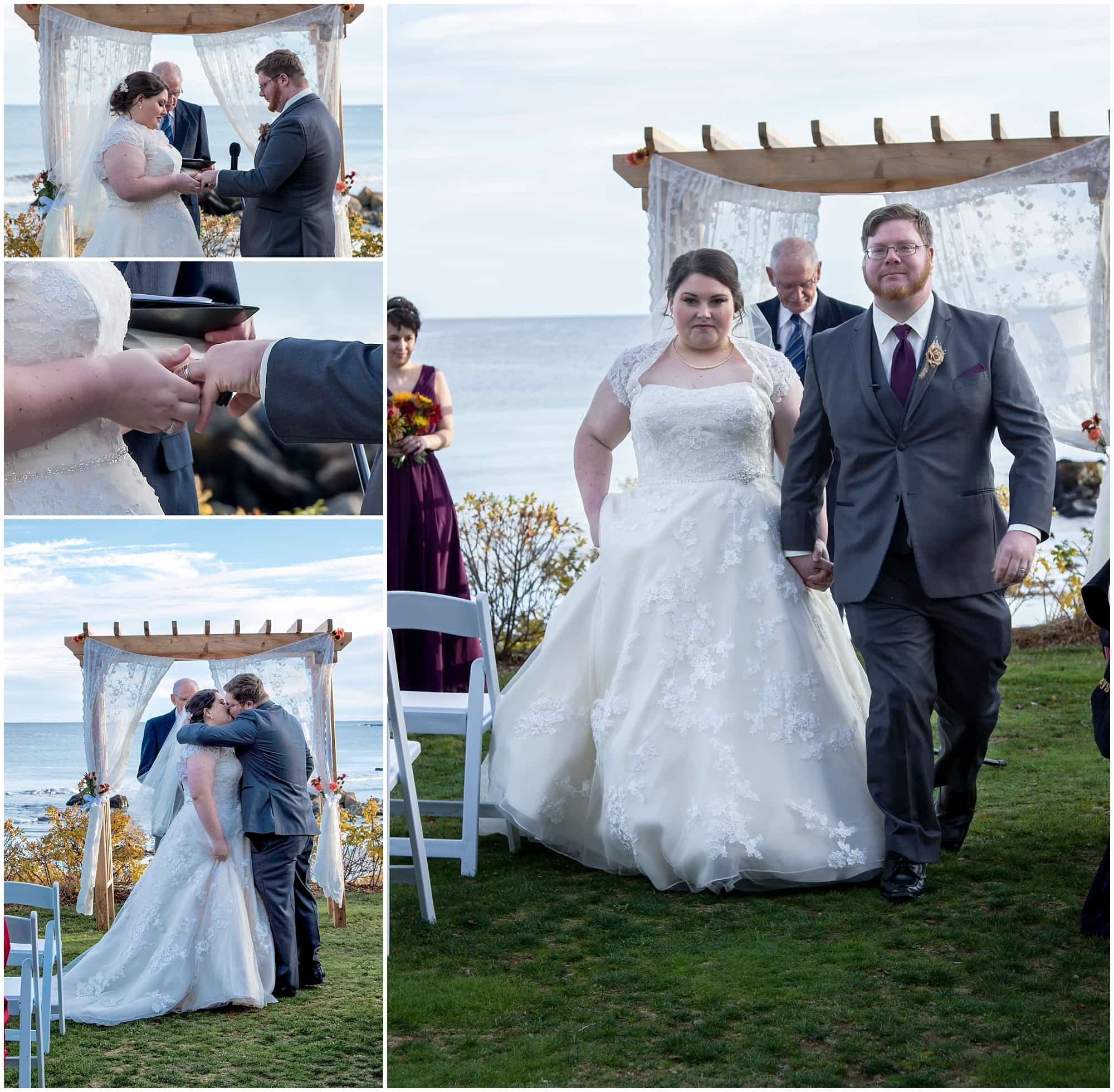 The bride and groom exchange their wedding rings then have their first kiss during their White Point wedding.